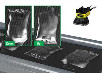 Sistema de visión inspeccionando la orientación de bolsas intravenosas llenas