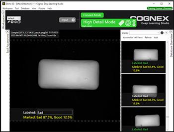 VisionPro Deep Learning lokalisiert mit dem Green-Classify-Tool im hochauflösenden Modus Fehler und andere unerwünschte Anomalien im Aussehen von Kaugummistücken.