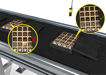 An industrial camera with deep learning inspects boxes of mixed chocolates to ensure the correct chocolates are in the right spots.