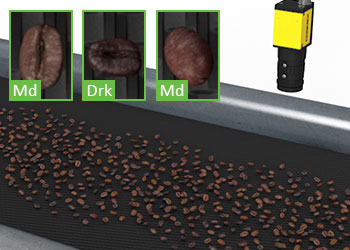 Vision system classifying coffee beans on a conveyer