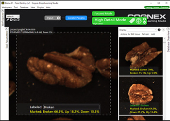 VisionPro Deep Learning consistent product quality of shelled walnuts using Green Classify High Definition Mode tool