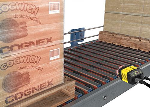 Up close Cognex dataman system multiple barcode reading pallet scanning