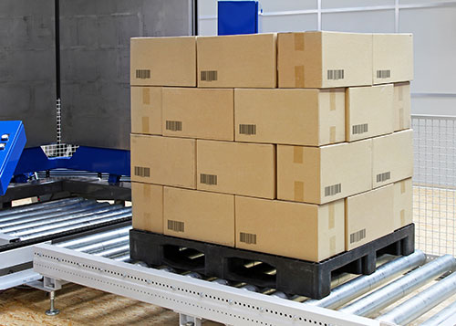 Pallet of boxes for warehousing and distribution logistics
