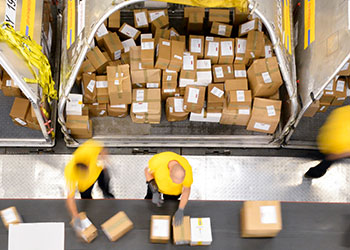 Two workers inbound sorting packages