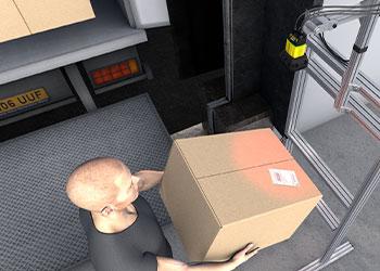 digital rendering of employee receiving packages with presentation scanning