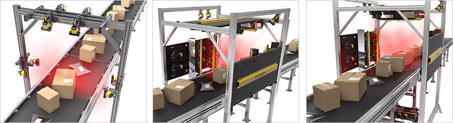 barcode reading scan tunnels for logistics packages and pouches