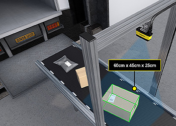 package dimensioning overhead 3d-a1000 before loaded on truck