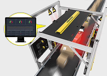 High Speed Ship Sorter Scanning with Edge Intelligence data on monitor
