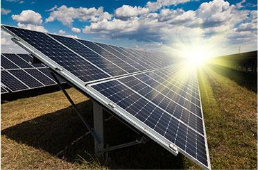 solar panels in field under sunlight