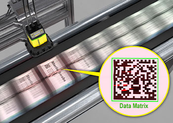 leitura de códigos em caixas de cotonetes esterilizadas
