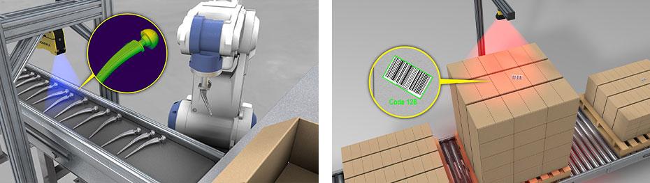 bildverarbeitungsgeführte robotergestützte Verpackung und Palettierung von Kartons