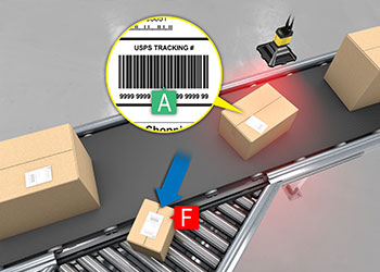 Barcode verifier grading code on shipping label