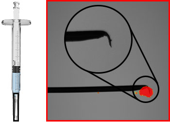 Defects detected on a beveled needle tip