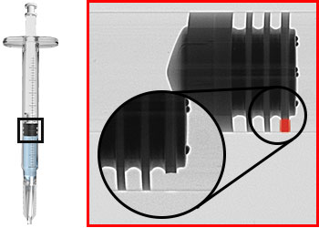 Defects detected on a syringe plunger stopper