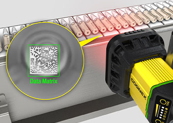 Barcode reader reading Data Matrix codes on ampoules