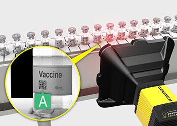 Barcode verifier grading codes on vaccine vials