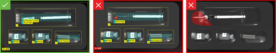 Inspecciones de los kits de vacunas buenas y defectuosas