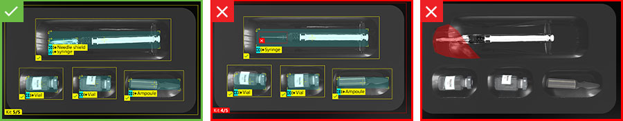 Inspection des kits de vaccins conformes et défectueux