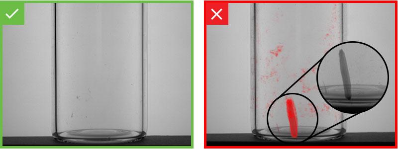 Gute und mangelhafte Glasfläschchen
