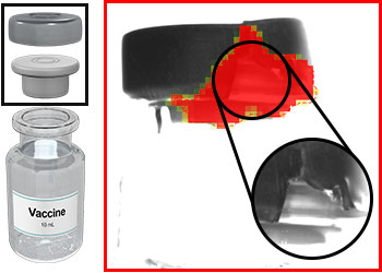 Defects identified on a vial crimp cap