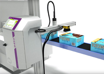 Cognex insight scanning icecone package along conveyor