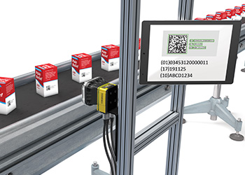 Cognex vision systems decode human-readable codes located on individual units and cartons