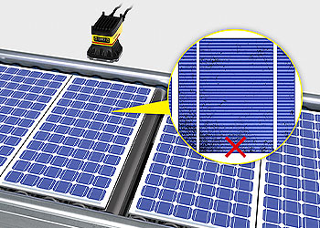 Vision system inspecting solar panels for defects