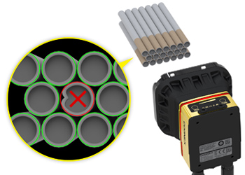 Recessed Cigarette Filter Inspection InSight rejects dented product