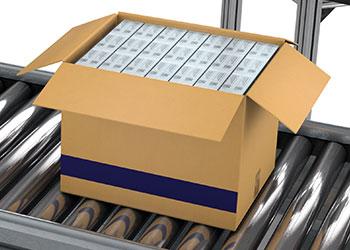 box of cigarette packs on metal roller conveyor