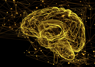 data cloud behind yellow brain outline