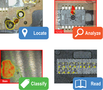 ViDi Deep Learning Tools 4 examples locate, analyze, classify, read