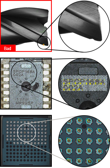 VisionPro ViDi up close examples of detected defects