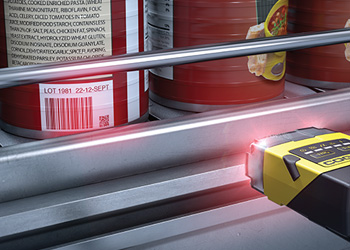 Cognex Dataman 150/260 reading 1D Barcodes on food cans