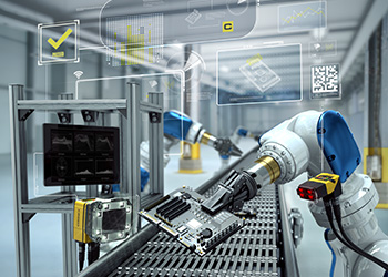cognex vision guided robotic arm in factory for consumer electronics
