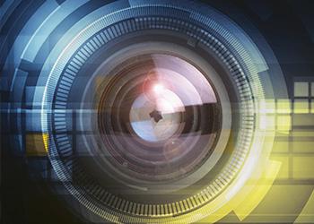 blue yellow Machine Vision lens art