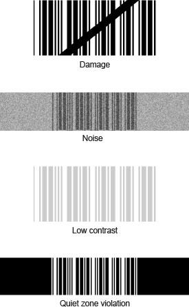 1D barcode problems contrast, damage, noise, quiet zone