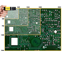 cognex insight micro 2D vision system size compared to circuit board