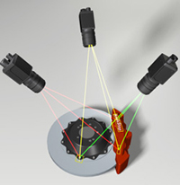 multiple laser displacement sensors to create 3d image
