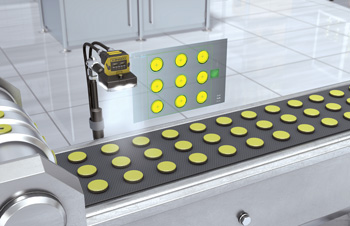 Cognex Insight checking yellow discs on conveyor