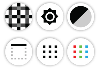icons for vision tools, six shapes in circles