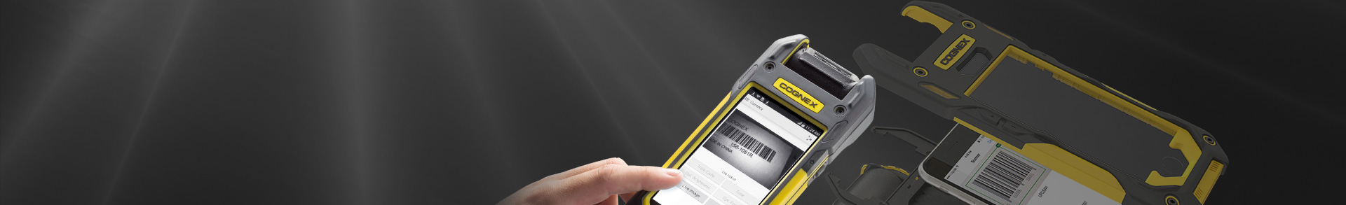 mx1000 mobile barcode reading terminal banner hand using phone