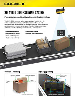 Cognex 3D-A1000 Dimensioning Datasheet preview of items on conveyor