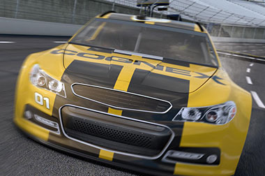 Cognex logo racecar driving on race track