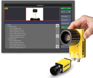 cognex testrun software screen with hand holding insight camera 8000 mini below