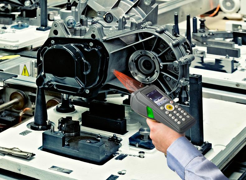 DataMan 9500 mobile computer reading DPM code on automotive part