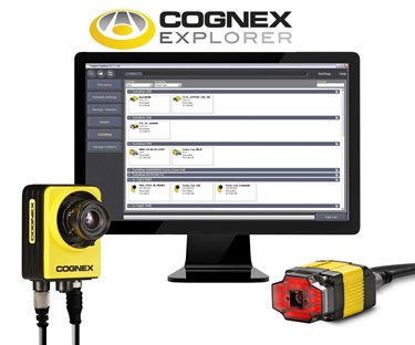 cognex explorer software on computer with insight and dataman products below