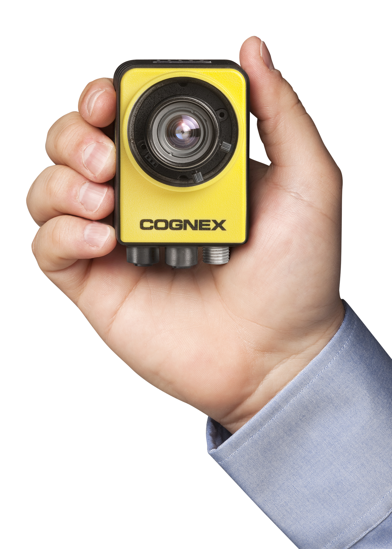 male hand holding cognex In-Sight 7000