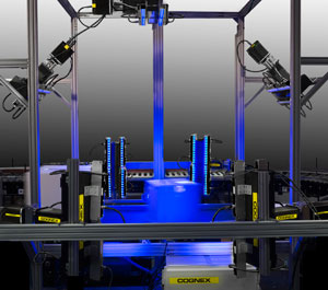 Dataman 503 blue light in logistics scanning tunnel