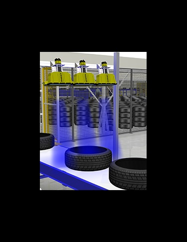 rendering of cognex cameras reading embossed tire codes in factory
