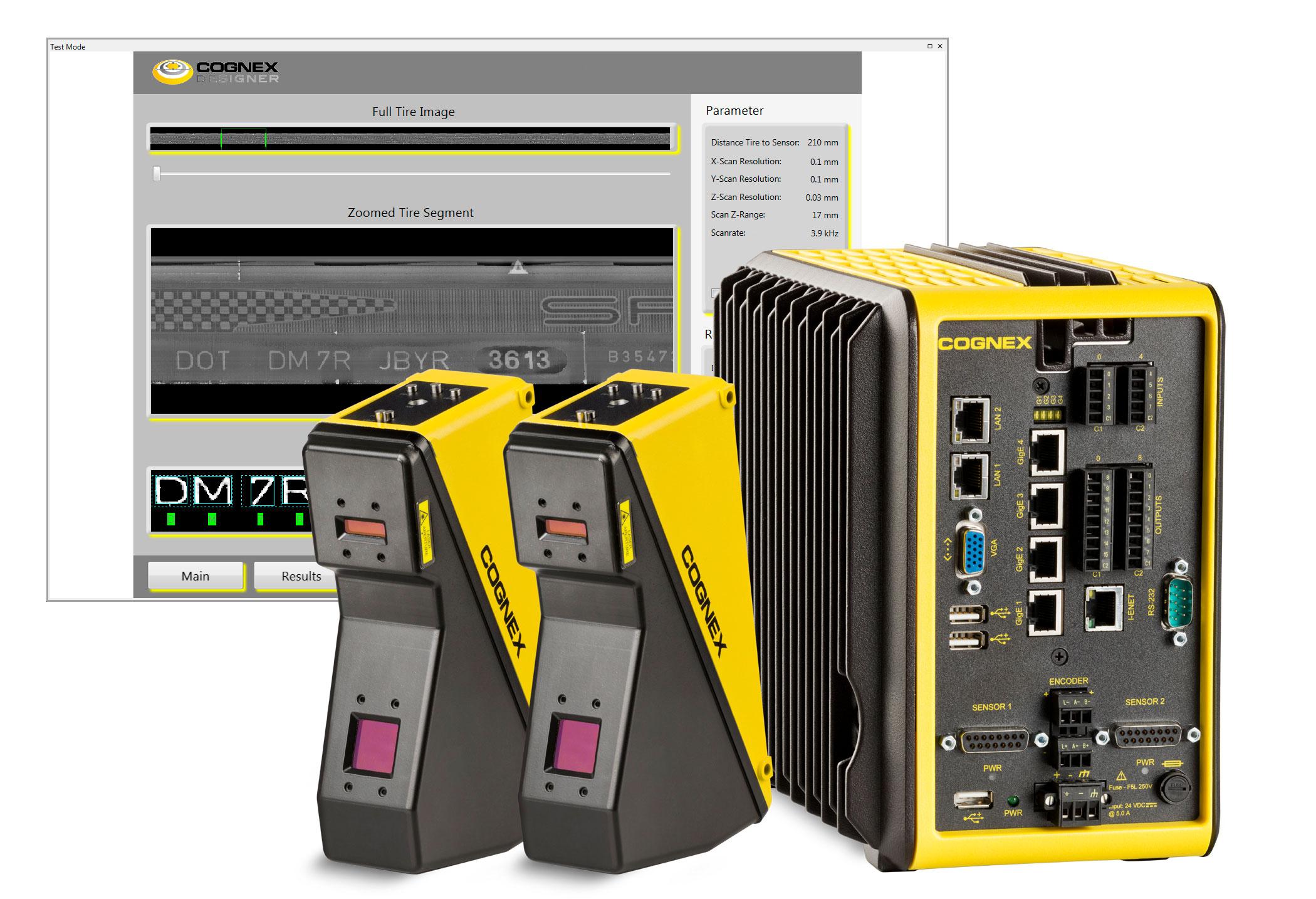 Cognex designer software screenshot behind 3D laser displacement sensors